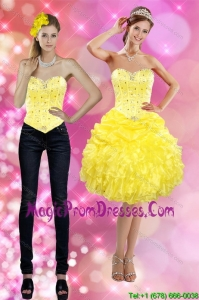 Pretty 2015 Sweetheart Yellow Detachable Prom Skirts with Beading and Ruffles