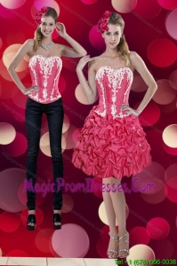 2015 Classical Embroidery and Pick Ups Sweetheart Detachable Prom Skirts in Coral Red