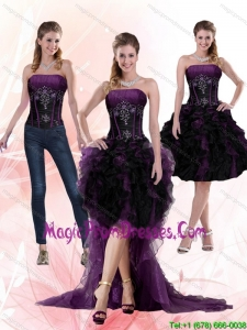 2015 Multi Color Beading and Ruffles Strapless Knee length Detachable Prom Skirts