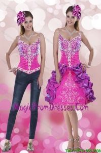 2015 New Style Spaghetti Straps Detachable Prom Skirts with Embroidery and Pick Ups