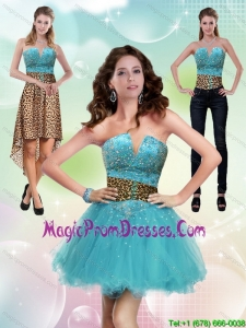 New Style Aqua Blue Leopard Printed 2015 Detachable Prom Skirts with Beading