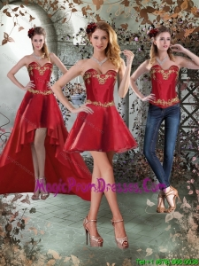 Perfect Sweetheart Embroidery Short Detachable Prom Skirts for 2015
