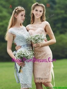 Luxurious See Through Scoop Cap Sleeves Prom Dress with Sashes