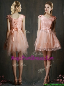 Modest V Neck Cap Sleeves Short Prom Dress with Belt and Appliques