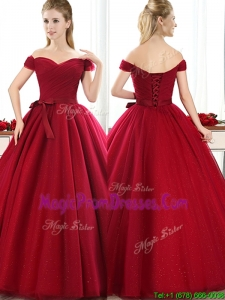 New Arrivals Off the Shoulder Wine Red Prom Dress with Bowknot