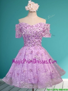 Classical Off the Shoulder Lilac Prom Dress with Appliques and Beading