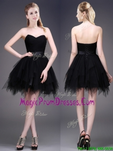 2016 Best Selling Black Short Prom Dresses with Ruffles and Belt