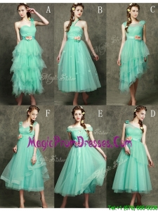 2016 Exclusive Hand Made Flowers Ankle Length Prom Dresses in Apple Green