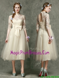 2016 See Through High Neck Half Sleeves Prom Dresses with Lace and Bowknot