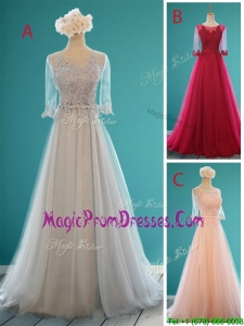 2016 See Through Scoop Half Sleeves Prom Dresses with Appliques and Belt