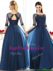 Luxurious See Through Scoop Half Sleeves Prom Dresses with Lace and Belt