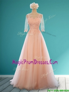 Classical Scoop Half Sleeves Prom Dresses with Appliques and Belt