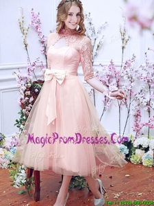 Exclusive See Through High Neck Half Sleeves Prom Dresses with Bowknot