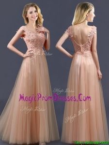 Exclusive Top Selling V Neck Long Prom Dresses with Appliques and Beading
