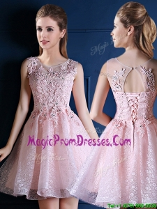 Exquisite Baby Pink Scoop Prom Dresses with Appliques and Beading
