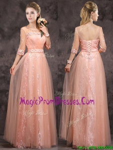 Exquisite See Through Applique and Laced Long Prom Dresses in Peach