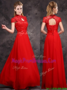 Impressive New Arrivals Applique and Laced High Neck Prom Dresses in Red