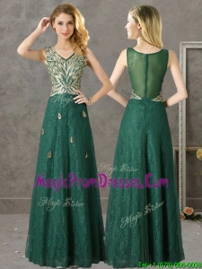 Luxurious V Neck Dark Green Prom Dresses with Appliques and Beading