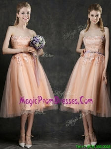 Hot Sale Strapless Peach Prom Dress with Sashes and Lace