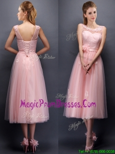 Lovely Hand Made Flowers and Applique Scoop Prom Dress in Baby Pink