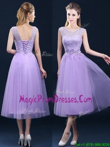 Beautiful See Through Laced and Applique Prom Dress in Tea Length