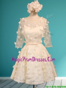 Discount Scoop Half Sleeves Champagne Prom Dress with Appliques and Belt