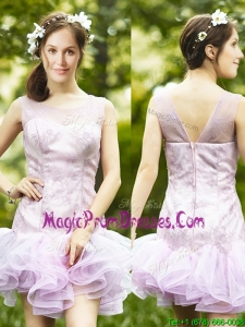 Fashionable Laced and Ruffled Short Prom Dress in Lavender