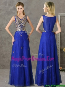Gorgeous V Neck Appliques and Beading Prom Dress in Royal Blue