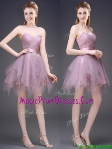 Hot Sale Lavender Short Prom Dress with Ruffles and Belt