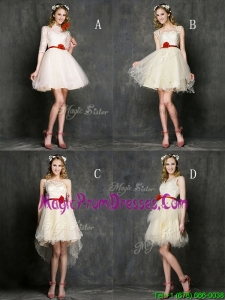 Most Popular Champagne Mini Length Prom Dress with Belt
