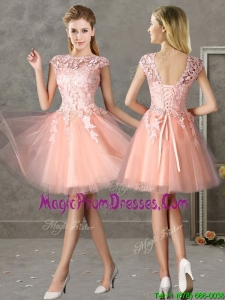 New Style Bateau Peach Short Prom Dress with Lace