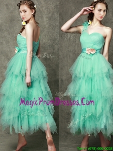 Popular One Shoulder Prom Dress with Ruffled Layers and Hand Made Flowers