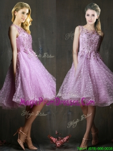 Popular See Through Beaded and Applique Prom Dress in Lavender