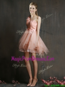 Pretty One Shoulder Watermelon RedProm Dress with Belt and Hand Made Flowers