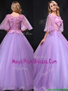 See Through Half Sleeves Bateau Prom Dress with Hand Made Flowers
