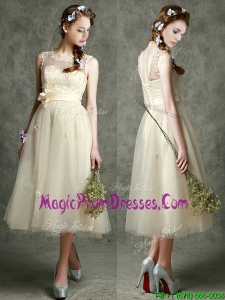 See Through Scoop Champagne Prom Dres with Hand Made Flowers and Appliques