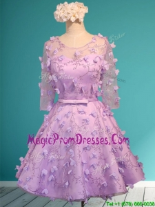 See Through Scoop Half Sleeves Prom Dress with Appliques and Belt