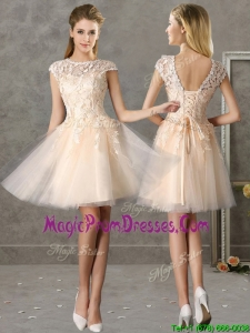 Classical Bateau Cap Sleeves Lace Prom Dress in Champagne