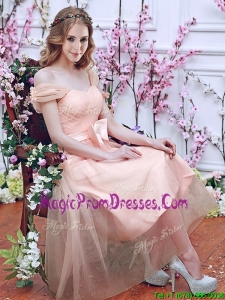 Gorgeous Off the Shoulder Cap Sleeves Prom Dress with Bowknot