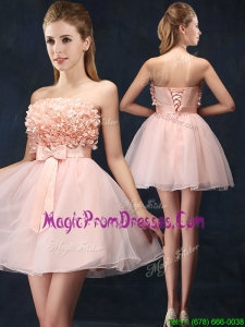Lovely Baby Pink Short Prom Dress with Bowknot and Hand Made Flowers