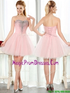 Lovely Beaded and Sequined Short Prom Dress in Baby Pink