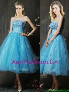 Lovely Strapless Applique Bust Baby Blue Prom Dress in Tea Length