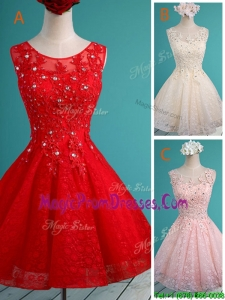 Luxurious See Through Scoop Short Prom Dress with Beading and Appliques