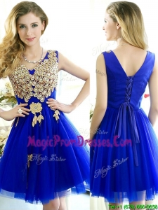Modest V Neck Short Prom Dress with Rhinestone and Appliques