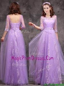 Popular Half Sleeves Lavender Prom Dress with Appliques and Beading