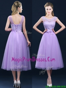 Popular See Through Applique and Belt Prom Dress in Tulle
