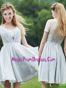 Elegant Sweetheart Short Sleeves Prom Dress with Belt and Lace