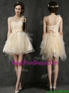 Gorgeous One Shoulder Short Prom Dress with Belt and Hand Made Flower