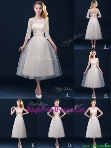 New Arrivals Tea Length Tulle Prom Dress in Champagne