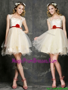 New Style Straps Short Prom Dress with Belt and Appliques